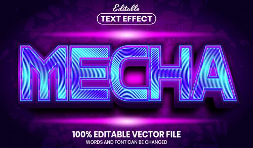 Mecha font style editable text effect vector