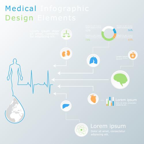 Medical infographic design elements vector