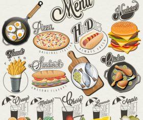 Menu food in vector