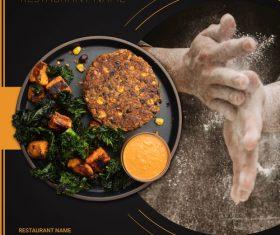 Menu food two sided menu list template vector