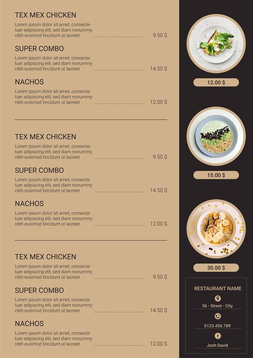 Menu restaurant food two sided menu list vector