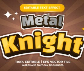 Metal Knight editable text effect comic games title vector