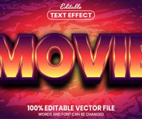 Movie font style editable text effect vector