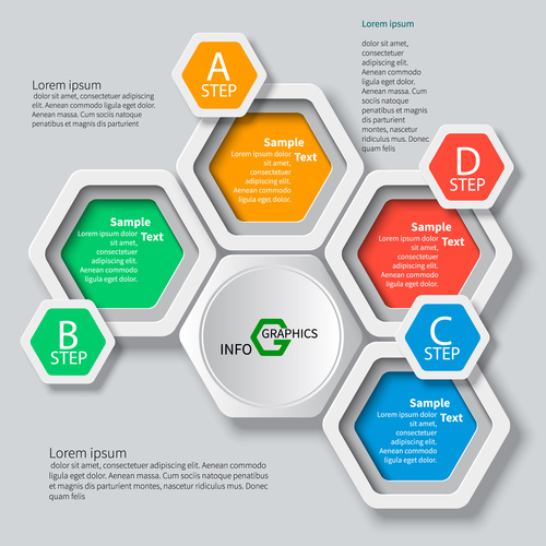 Multiple circle composition infographic vector