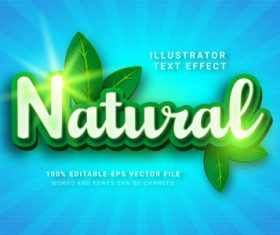 Nature illustrator text effect vector