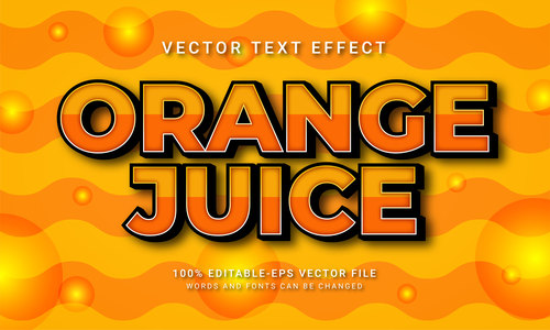Orange juice vector text effect