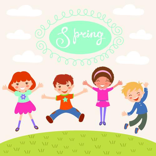 Outdoor happy kids cartoon illustration vector