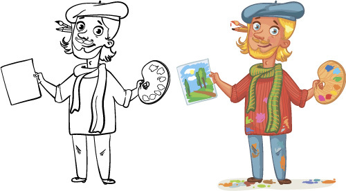 Painter cartoon colorful and black and white image vector