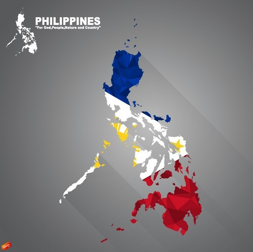 Philippines map flag vector