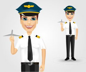 Pilot and airplane model vector