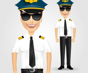 Pilot with sunglasses vector