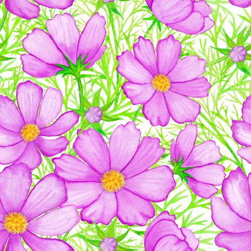 Pink flower seamless background vector