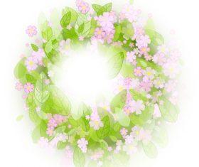 Pink flower wreath vector background