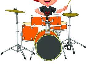 Playing drum set kid cartoon illustration vector