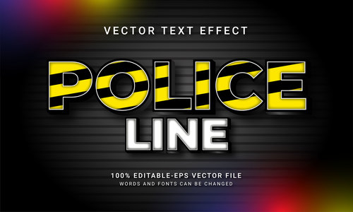 Police line vector text effect