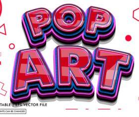 Pop art editable text style effect vector