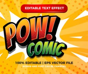 Pow comic editable text effect with halftone background vector