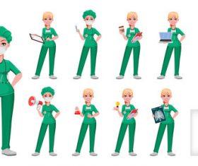Pretty amiable nurse cartoon vector