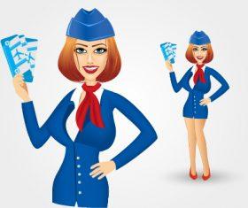 Pretty stewardess vector