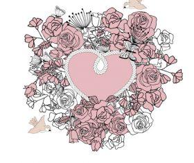 Pretty wedding invitation card vector