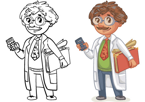 Professor cartoon color and black and white image vector