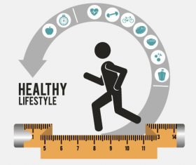 Proper fitness and nutrition vector