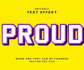 Proud vector editable text effect