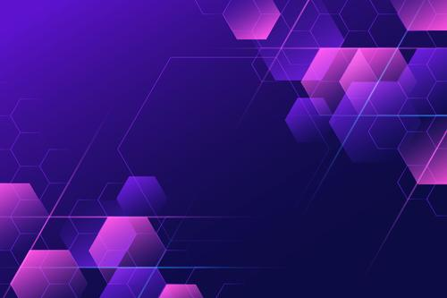 Purple and pink hexagon background vector