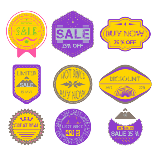 Purple and yellow badges vector