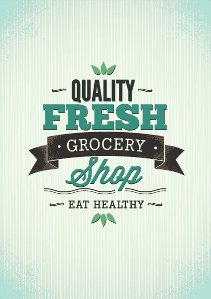 Quality fresh grocery card vector