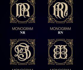 RN monograms in vector