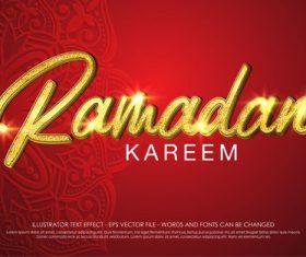 Ramadan kareem 3d editable text style effect vector