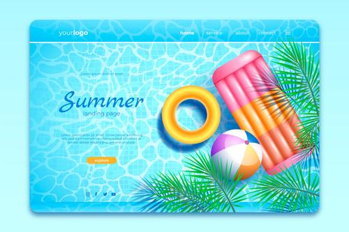 Realistic summer landing page vector
