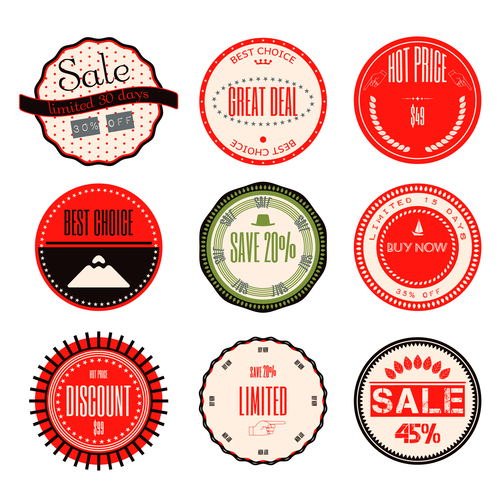 Red badges vector