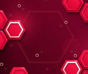 Red hexagon background vector