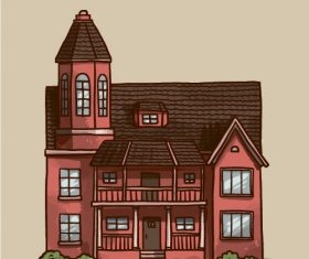 Red wall building vector