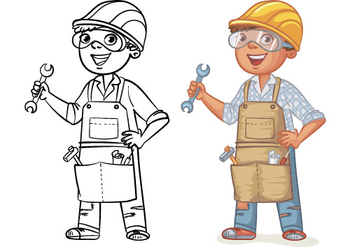 Repairman cartoon colorful and black and white image vector