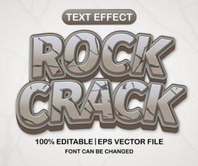 Rock crack 3d editable text style vector