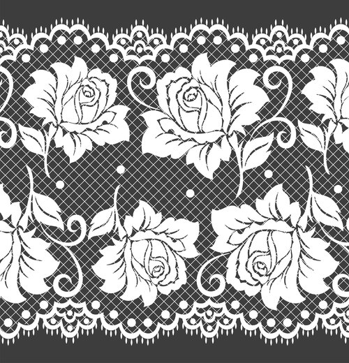 Rose flower knitted decorative pattern vector