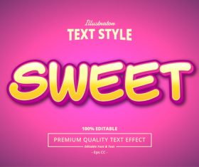 SWEET text effect vector