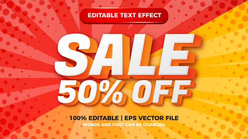 Sale editable text effect with halftone background vector