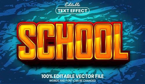 School font style editable text effect vector
