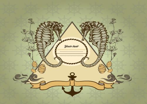 Seahorse flower frame design vector