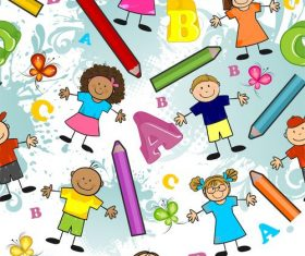 Seamless children pencils and letters vector