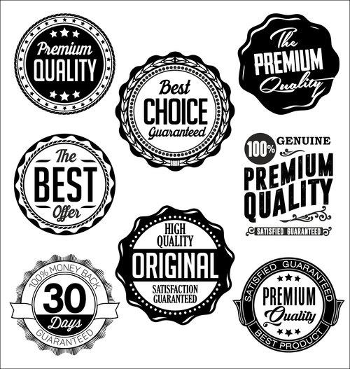 Set of vintage badges on black and white vector