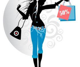 Shopping girl silhouette vector