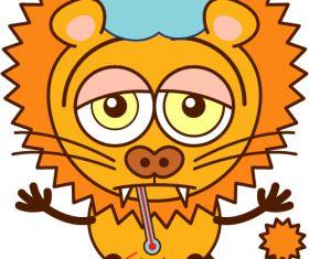 Sick lion vector