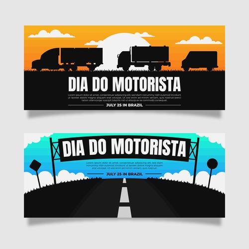 Silhouette car banner vector
