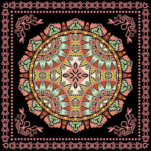 Silk scarf mandala fabric printing vector