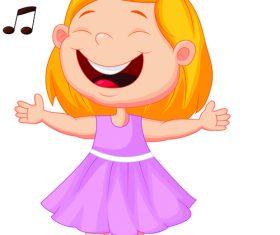 Singing little girl cartoon illustration vector